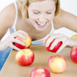 Stock Photo: Woman with apples