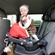 Toddler in car seat — Stok fotoğraf