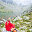 Woman backpacker in High Tatras — Stock Photo #3476871