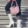 White boots with handbag — Stock Photo