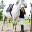 Equestrian with horse — Stock Photo #3487432