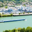 Cargo ship on the Rhone River - Stock Photo