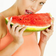 Woman with water melon — Stock Photo