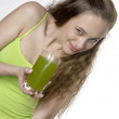 Woman with a glass of juice — Stock Photo