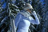 Woman in winter mountains — Stock Photo