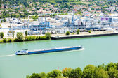 Cargo ship on the Rhone River — Stock Photo