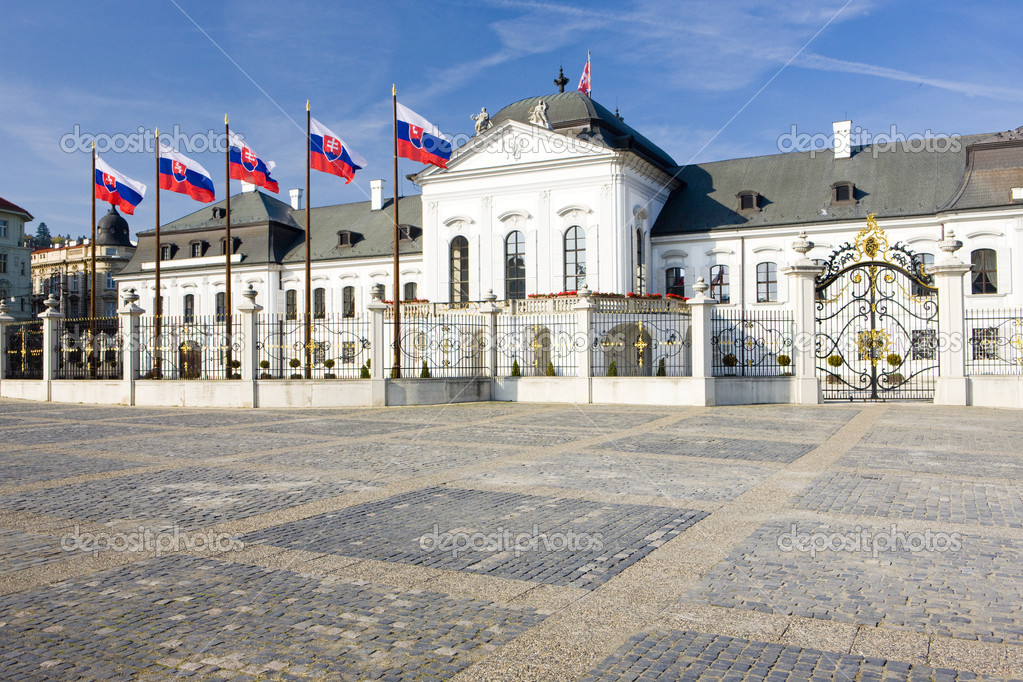 Presidential residence in Grassalkovich Palace at Hodzovo Square, Bratislava, Slovakia  Stock Photo #3487744