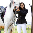 Equestrian with horse — Stock Photo #3534033