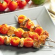 Royalty-Free Stock Photo: Salmon and cherry tomatoes skewers