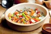 Beef meat with peppers, onion and capers — Stock Photo