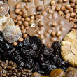 Royalty-Free Stock Photo: Dried fruit with chocolate and coffee beans