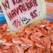 Prawns, street market in Bergen, Norway - Stock Photo