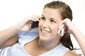 Telephoning woman — Stock Photo