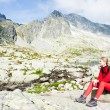 Wombackpacker at Five Spis Tarns, Vysoke Tatry (High Tatras), — Stock Photo #3604083