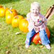 Little girl with pumpkins - Stock Photo