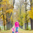Mother with her daughter in autumnal alley — Stock Photo #3639318