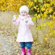Little girl in autumnal nature - Stock Photo