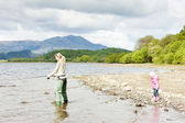 Fishing woman and little girl, Loch Venachar, Trossachs, Scotlan — Stock Photo