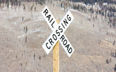 Railroad crossing, Silverton, Colorado, USA — Stock Photo