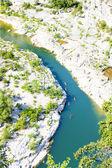 Kayaks in Ardeche Gorge, Rhone-Alpes, France — Stock Photo