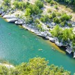 Kayaks in Ardeche Gorge, Rhone-Alpes, France - Stock Photo