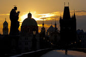 Charles Bridge at dawn, Prague — Stock Photo