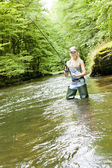 Fishing woman — Stock Photo