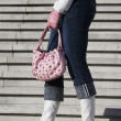 White boots with handbag — Stock fotografie