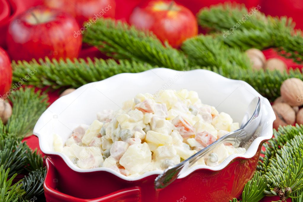 Traditional Czech Christmas potato salad  Stock Photo #4147075