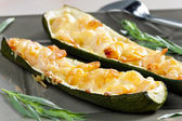 Baked prawns on zucchini — Stock Photo