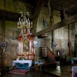 Interior of wooden church — Stock Photo