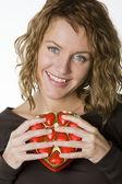 Kobieta z czekoladą — Zdjęcie stockowe
