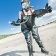 Stock Photo: Womwith gas mask