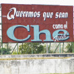Political billboard (Che Guevara), Santa Clara, Cuba — Stock Photo