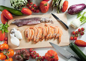 Seafood and vegetables — Stock Photo