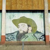 Political mural painting (Fidel Castro), Ceiba Hueca, Granma Pro — Stock Photo
