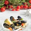Pasta with mussels - Stock Photo