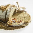 Bread with lard and scraps - Stock Photo