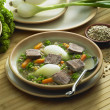 Beef soup with vegetables and lentils — Stock Photo