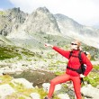Wombackpacker at Five Spis Tarns, Vysoke Tatry (High Tatras), — Stock Photo #4426860