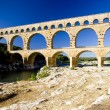 Romaqueduct, Pont du Gard, Languedoc-Roussillon, France — Stock Photo #4426923