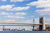 Brooklyn Bridge and Manhattan Bridge, New York City, USA — Stock Photo