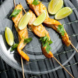 Salmon skewers - Stock Photo