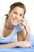 Portret telefonicznie kobieta — Zdjęcie stockowe