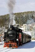 Steam train, Oberwiesenthal - Cranzhal (Fichtelbergbahn), German — Stock Photo