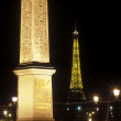 Concorde Obelisk and Eiffel Tower, Place de la Concorde, Paris, - Stock Photo