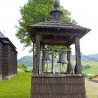 Wooden church and bell tower, Leluchow, Poland - Foto Stock