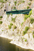 Engine coach on railway viaduct near Tua, Douro Valley, Portugal — Stock Photo