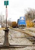 Train with motor locomotive, South Paris, Maine, USA — Stock Photo