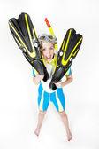 Woman wearing neoprene with snorkeling equipment — Stock Photo